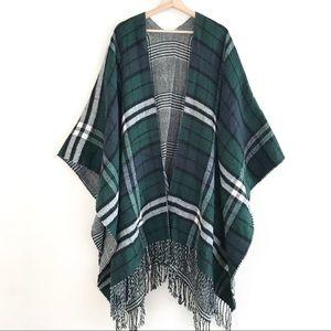 ASOS Plaid cape poncho With Pocket